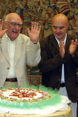 Andrea Camilleri, left, with actor Luca Zingaretti, who played Inspector Montalbano in the hit TV series, celebrating the author's 80th birthday at the Rome headquarters of Italian broadcaster RAI in 2005.