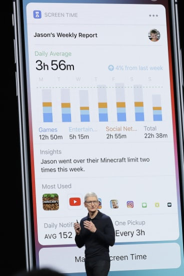 Blessing or curse? Apple's Tim Cook explains the 'Screen Time' feature.