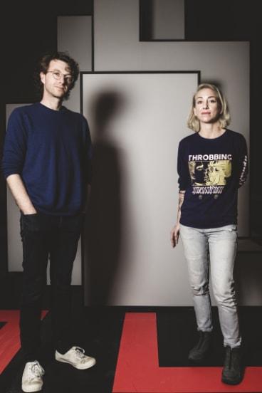 Artists Simon Ward and Jess Johnson with their artwork, Terminus.