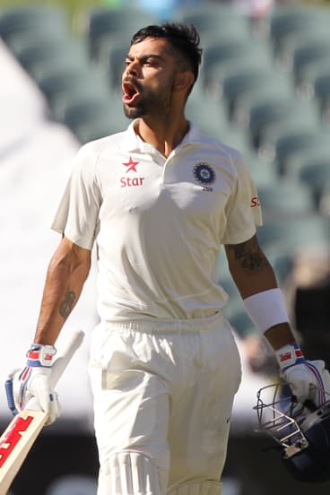 Coming of age: Kohli celebrates one of the two centuries in the 2014 Adelaide Test.