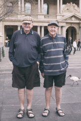 Frank and Pat Doughty recreate the image from when they were boys (minus the Spuds).