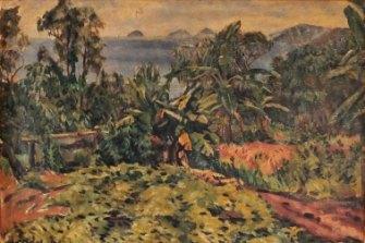 A Noel Wood original in a Bundaberg Regional Galleries exhibition. 'The Sweet Potato Patch', Bedarra Island, 1937, Oil on canvas.