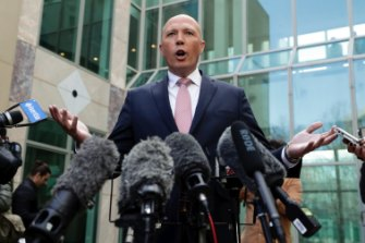 Peter Dutton addresses the media at Parliament House on August 21.