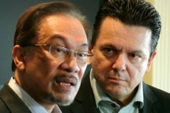 Malaysian opposition leader Anwar Ibrahim, left, with senator Nick Xenophon in Jakarta in 2014.