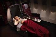 Sleeping arrangements in the Qantas A380 business class cabin.