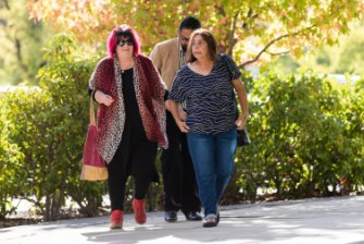 Steven Freeman's mother Narelle King (right), and Julie Tong (left), arrive at ACT Magistrates Court. Photo: Jamila Toderas
