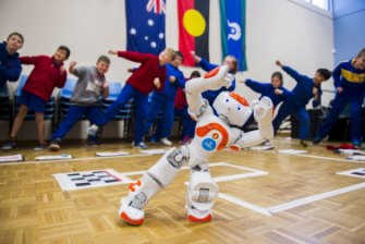 The University of Canberra's robot Ardie teaches tai chi to primary school pupils.