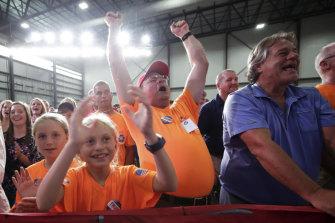 Supporters of US President Donald Trump cheer as Prime Minister Scott Morrison speaks in Ohio.