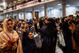 Female delegates at the opening of Afghanistan's Grand Assembly in Kabul in April.