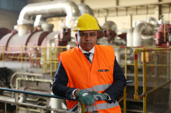 British businessman Sanjeev Gupta at the Uskmouth power station in Newport, Wales, which was coal-fired but is being converted to run on biomass and waste plastic.