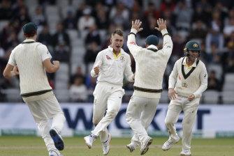 Marnus Labuschagne celebrates taking the wicket of Jack Leach.