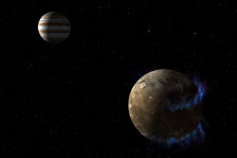 In this artist's concept, the moon Ganymede orbits the giant planet Jupiter.