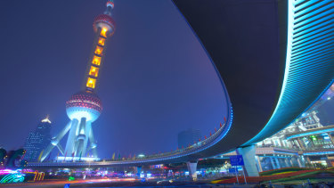 The Oriental Pearl Tower in Shanghai.