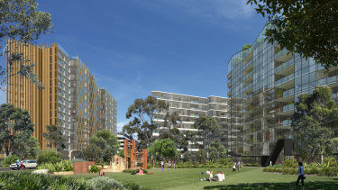 Renders of what could be developed on the site of Quad 2 and 3 at Sydney Olympic Park.
