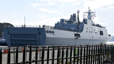 A Chinese warship at Garden Island Naval Base in Sydney on Monday.