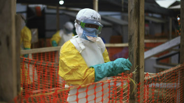 An Ebola health worker at a treatment centre in Beni, Democratic Republic of the Congo.