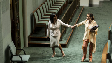 Independent MP Julia Banks and Labor's Anne Aly after a division in the House of Representatives.