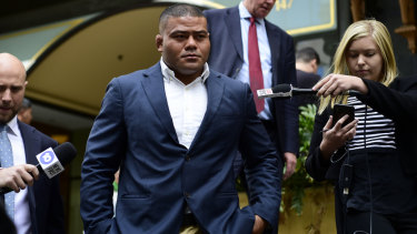 Tolu Latu leaves court in Sydney last week after pleading guilty to a mid-range drink driving charge.