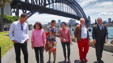 From right, Waverley mayor John Wakefield, Woollahra mayor Peter Cavanagh, City of Sydney lord mayor Clover Moore, North Sydney mayor Jilly Gibson, Mosman mayor Carolyn Corrigan and Northern Beaches mayor Michael Regan, who have agreed to connect parks and lands around Sydney to create an 80 kilometre walk between Bondi and Manly.