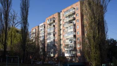 The building in Rivne, Ukraine, where Ivan Mamchur was shot dead.