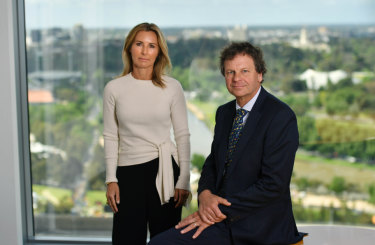 Simon McKeon, patron of MS Research Australia and Suzi Carp, chairman of Murdoch Childrens Research Institute