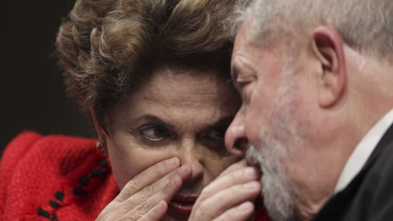 Brazil's former president Luiz Inacio Lula da Silva pictured,  with ousted President Dilma Rousseff in July, 2017.