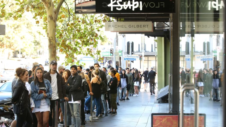 Shoppers line Oxford St for the Ksubi denim fashion sale at their flagship store on Saturday.