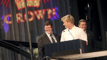 All smiles: Gordon Ramsay with  Crown boss James Packer and then-premier John Brumby at the opening of Crown Metropol in 2010.