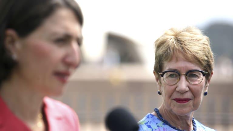 Justice Margaret Beazley looks on as Premier Gladys Berejiklian names her NSW's next governor.