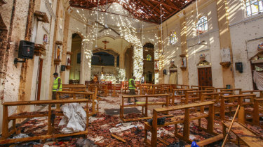 The destruction at St Sebastian's Church in Negombo, north of Colombo, Sri Lanka.
