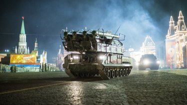 Russian Buk-M2 air defence missile systems drive during a rehearsal for the Victory Day military parade in Red Square earlier this year.