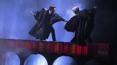 Sean Rees-Wemyss as Albus Potter, and Willam McKenna as Scorpius Malfoy, atop the Hogwarts Express in the Australian production of Harry Potter and the Cursed Child.