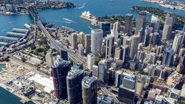 A high, steep shot from over the International Towers at Barangaroo, facing north over the Rocks and Circular Quay.