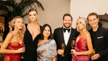 The young set, from left: Nadia Fairfax, Montana Cox, Caroline Tran, Nick Pitt, Montarna Pitt and Elliot Garnaut at the White Caravan gala.