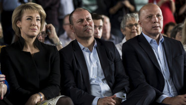 Michaelia Cash, Josh Frydenberg and Peter Dutton at the Liberal Party Rally.
