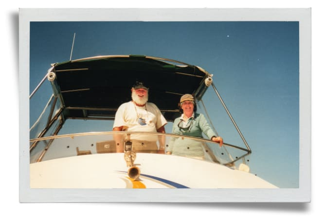 Trish and Wally on Moon Dancer in 2002.