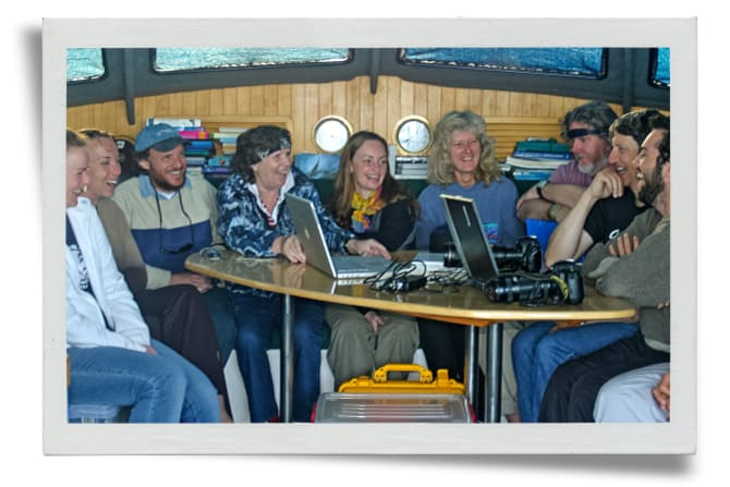 Trish with researchers on board Moon Dancer during the 2003 whale research expedition.