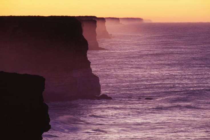 The limestone coast of the Great Australian Bight, off South Australia.