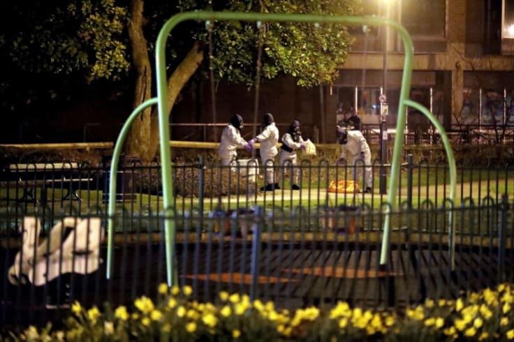 Investigators at the scene near the scene of the nerve agent attack in Salisbury.