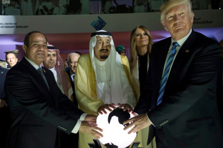 Affinity for autocrats: Donald Trump with Saudi King Salman bin Abdulaziz, centre,  and Egyptian President Abdel Fattah al-Sisi in Riyadh in May 2017.