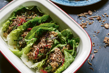 Quinoa and lemongrass larb gai recipe from Slow Victories by Katrina Meynink.