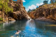 Swimming in the upper pools, Gunlom Falls, Kakadu National Park satmar17coveraust BREAKOUT SWIMMING Cover Australia ; text by Ute Junker SUPPLIED (via?Tourism NT) Mandatory credit: Sam Earp/Tourism NT
