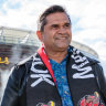 Nicky Winmar is pictured at the unveiling of his statue at Optus Stadium in Perth on July 6.