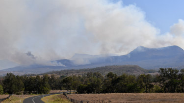 Fires in the Main Range National Park near Tarome in the Scenic Rim, south-west of Brisbane, on Thursday.