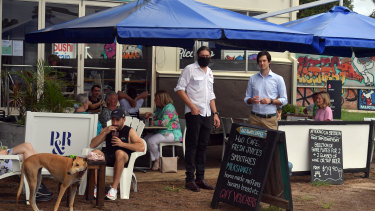 Co-owner of H2O Cafe Restaurant Leigh Titterton (left) and Northern Beaches councillor Rory Amon.