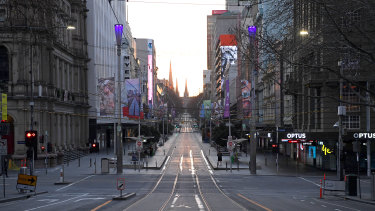 Empty streets lined with empty offices in the Melbourne CBD this week.