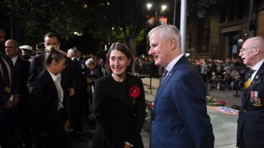 Deputy Prime Minister Michael McCormack and NSW Premier Gladys Berejiklian at the dawn service.