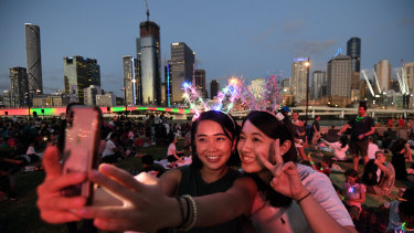 Mizuki (left) and Tsubasa waiting New Year's Eve fireworks at South Bank in Brisbane.