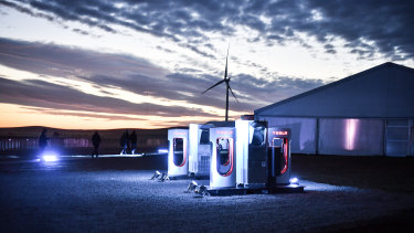 A car-charging station at Tesla\'s wind and solar battery plant outside of Jamestown, South Australia.