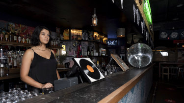 Kayla Lagesse, manager of Goros Bar in Surry Hills, which risks being categorised as a nightclub if it hangs up its mirror ball.